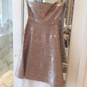 Herve Leger sequin gold dress xs